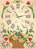 Схема для вышиви бисером Часы. Корзина с цветами