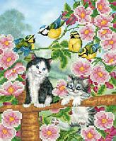 Схема для вышиви бисером Котята в саду