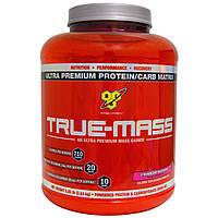 BSN, True-Mass, ультрапремиальная матрица из премиум-белка и углеводов, клубничный молочный коктейль, 5,82 фунта (2,64 кг)