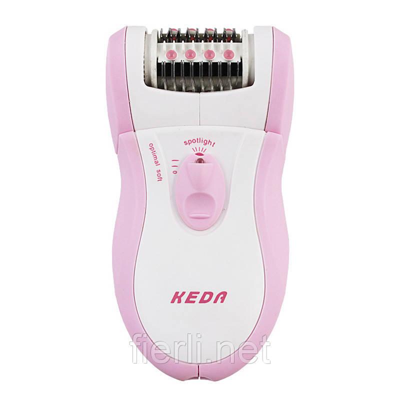 Эпилятор электрический женский keda 180+ насадка для пиллинга , подсветка.