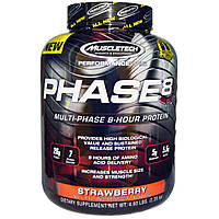 Muscletech, 8-часовой протеин с клубничным вкусом Performance Series, Phase8, Multi-Phase, 2,09 кг (4,60 фунтов)