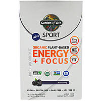Garden of Life, Sport, Organic Plant-Based Energy + Focus, Pre-Workout, Blackberry, 12 Packets, 0.5 oz (14 g) Each