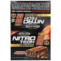 Muscletech, Nitro Tech Crunch Bars, Chocolate Peanut Butter,12-2.29 oz (65g), Net Wt 1.72 lbs