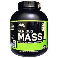 Optimum Nutrition, Порошок Serious Mass с высоким содержанием белка для набора веса, со вкусом ванили, 2,72 кг