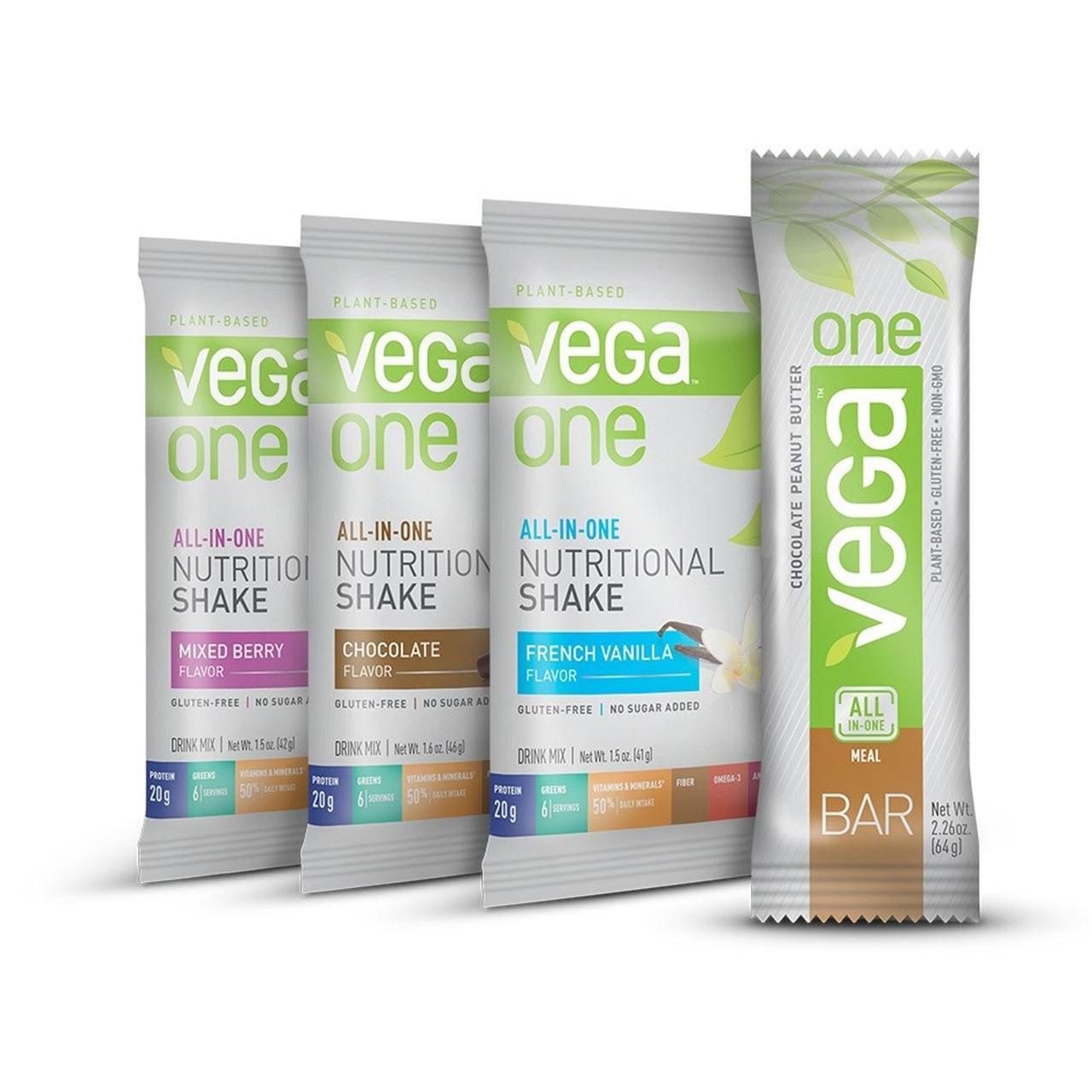 Vega, Vega One, все в одном, питательные коктейли и батончик арахисового масла, 4 пакетика