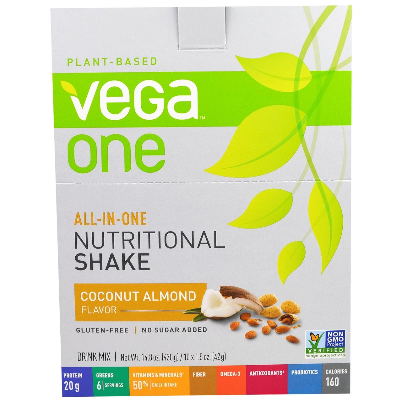 Vega, Полноценный диетический коктейль со вкусом кокоса и миндаля, 10 пакетиков по 1,5 унции (42 г)
