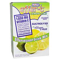 Now Foods, Effer-C, электролитический напиток с транспортом C-Plus, лимон-лайм, 30 пакетиков по 7,5 г