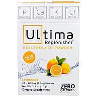 Ultima Health Products, Предельный восполнитель, порошок электролитов со вкусом лимонада, 20 пакетиков, 0,12 унций (3,5 г)