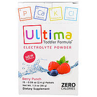Ultima Health Products, Предельный восполнитель, порошок электролитов со вкусом вишневого пунша, 15 пакетиков по 0,09 унции (2,4 г)