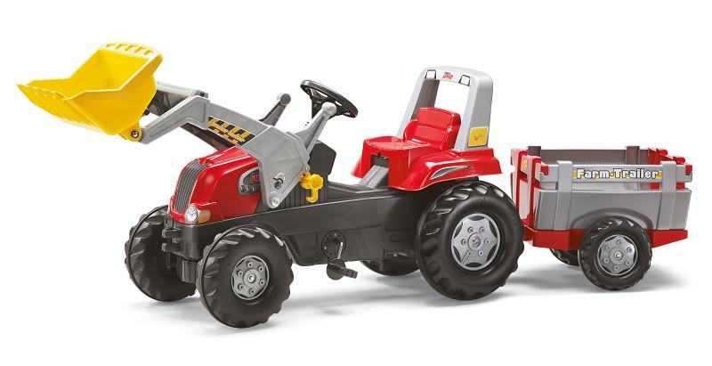 Трактор Педальный с Прицепом и Ковшом Junior Rolly Toys 811397. Машинка для детей