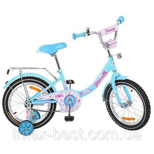 """Детский двухколесный велосипед Profi Princess 14"""" G1412 (Голубой)"""