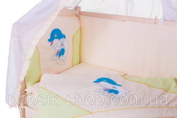 Постельный комплект в кроватку Qvatro ELLIT аппликация (8 предметов)