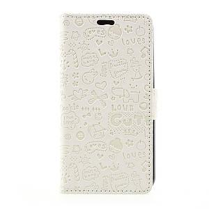 Чехол книжка для LG K4 2017 M160 боковой с отсеком для визиток, Мультяшки, белый