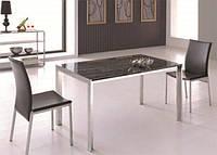 Каменный обеденный стол М-903 хромированный каркас, мраморная столешница антик 140х80х76H