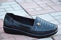 Туфли, мокасины женские черные мягкие удобные. Со скидкой