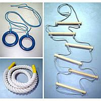 Веревочный комплект для шведской стенки (кольца гимнастические, канат, веревочная лестница), фото 1