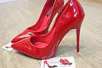 Туфли лодочки каблук шпилька недорого красный лак