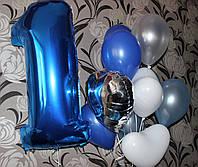 Фольгированная синяя единичка с гелием