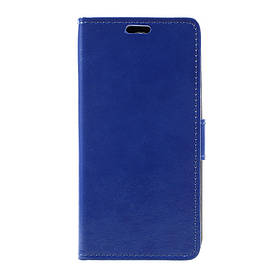 Чехол книжка для LG K4 2017 M160 боковой с отсеком для визиток, Гладкая кожа, синий