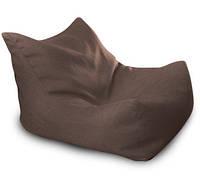 Коричневое бескаркасное кресло-лежак из микро-рогожки