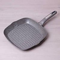 Сковорода-гриль Kamille 28*28*4см с гранитным покрытием без крышки для индукции