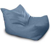 Синее бескаркасное кресло-лежак из микро-рогожки