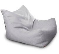 Серое бескаркасное кресло-лежак из микро-рогожки, фото 1