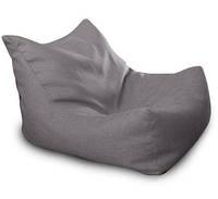 Темно-серое бескаркасное кресло-лежак из микро-рогожки