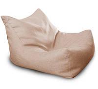 Бежевое бескаркасное кресло-лежак из микро-рогожки, фото 1