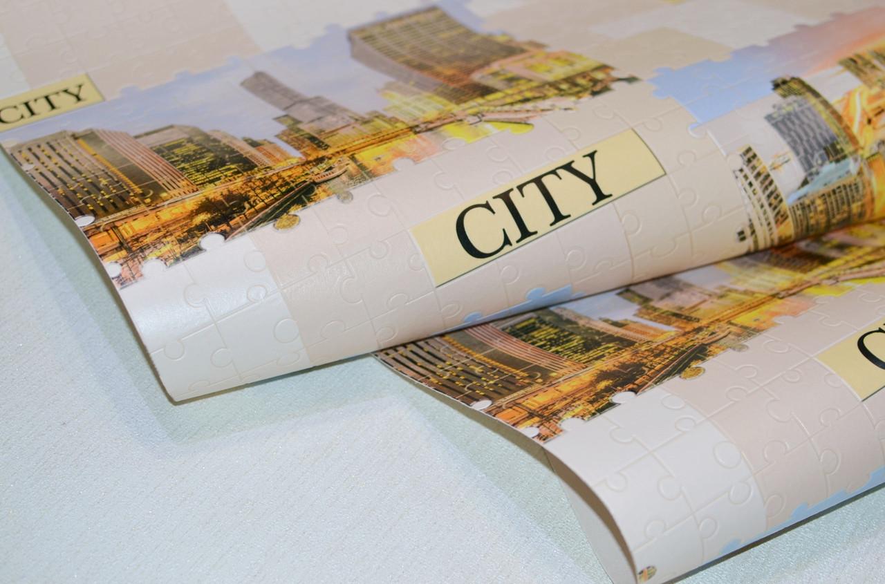 Обои на стену, виниловые, обои город, светлые, B49.4 Пазлы 5545-02, супер мойка, 0,53*10м