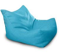 Голубое бескаркасное кресло-лежак из микро-рогожки
