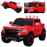 Детский 4-х моторный электромобиль Джип Chevrolet Colorado M 3460 EBLR-3 красный, мягкие колеса и кожаное сиде