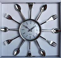 """Часы настенные для кухни """"Ложки-вилки"""" (38х38 см) [Пластик]"""