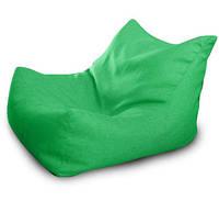 Зеленое бескаркасное кресло-лежак из микро-рогожки