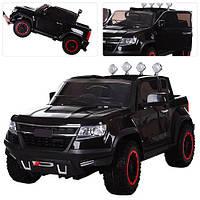 Детский 4-х моторный электромобиль Джип Chevrolet Colorado M 3460 EBLR-2 черный, мягкие колеса и кожаное сиден