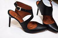 Стильные летние женские комфортные туфли TroisRois на шпильке из натуральной турецкой кожи
