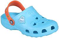 Дитячі клоги Coqui Little Frog Синьо-оранжеві 003516