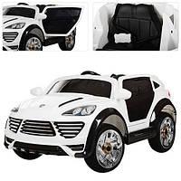 Детский электромобиль с мягкими колесами Porshe Cayene M 2735 EBLR-1 белый, кожаное сиденье
