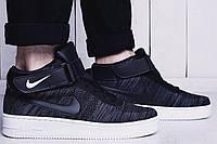 Кроссовки мужские Nike air force flyknit High темно-серые