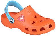 Детские клоги Coqui Little Frog оранжево-голубые 003518