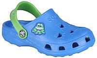 Детские клоги Coqui Little Frog Синие с зеленым 003520