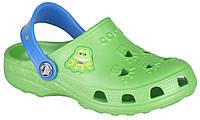 Детские клоги Coqui Little Frog Зеленые с синим 0035-22