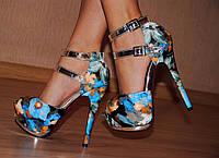 """Босоножки женские на каблуке мод.""""Шпилька-синий лак"""""""