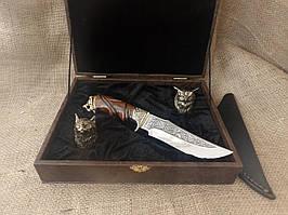 """Подарочный набор охотника """"2 бронзовые рюмки и нож"""""""