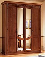 Шкаф 4-х дверный из дерева Toscana с зеркалами вишня