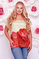 Футболка Beauty красные розы молоко, фото 1