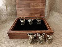 """Подарочный набор охотника """"6 бронзовых рюмок в деревянном футляре"""""""
