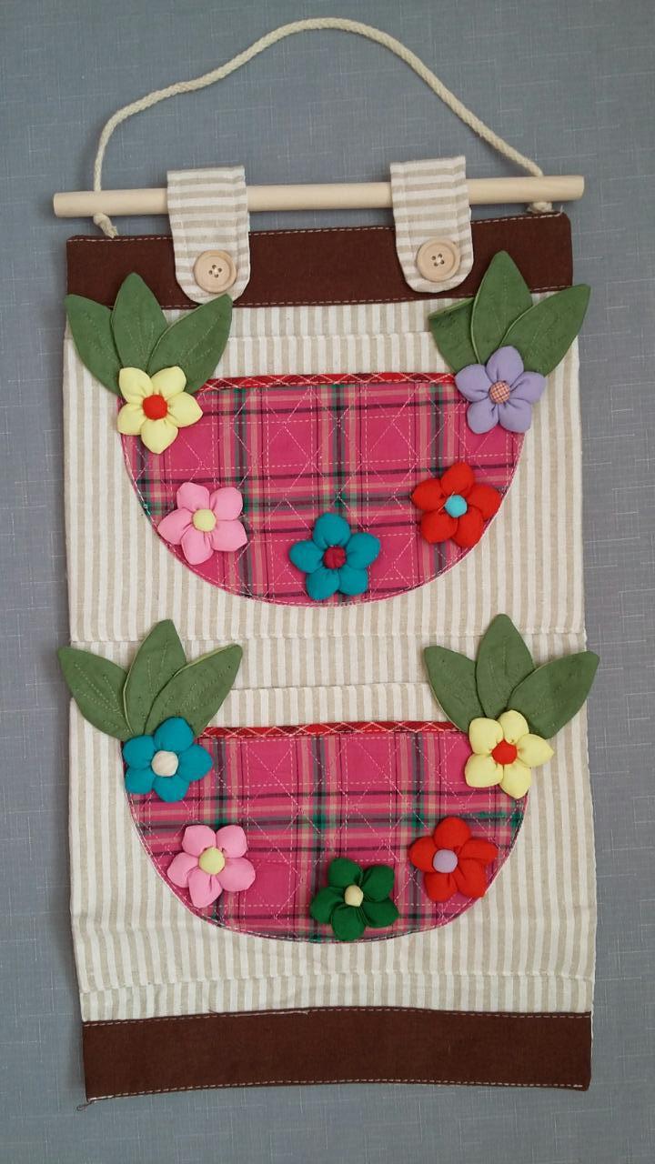 Настенный кармашек для мелочей, Вазы, 2 секции, розовый