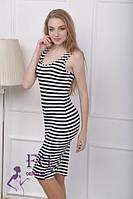Платье - тельняшка на бретелях удлиненное 041