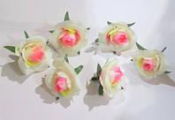 Головка розы 4 см, розово-молочная